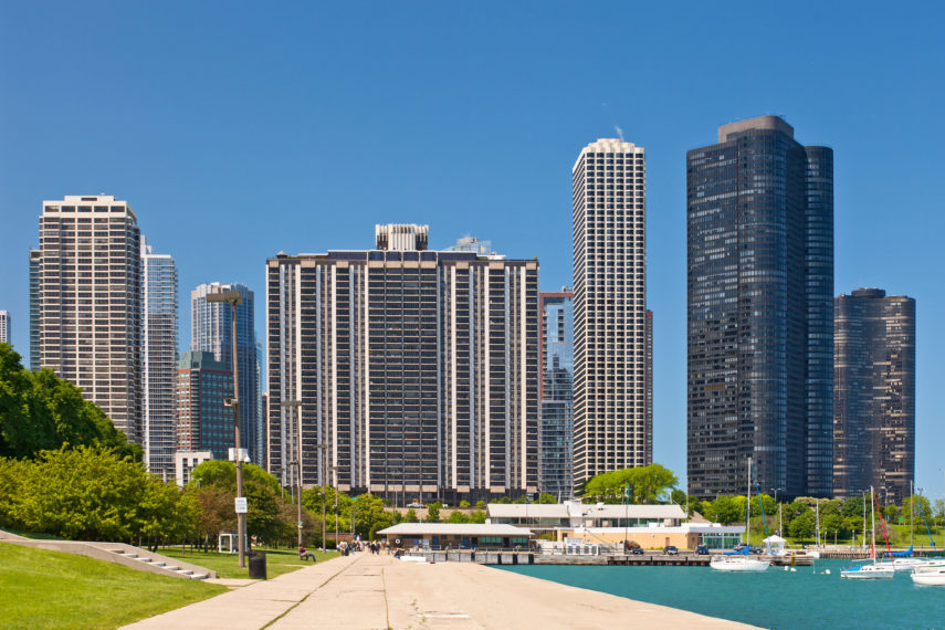 45535503 - chicago skyline and marina on a beautiufl summer day with blue sky